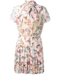 RED Valentino | Multicolor Birds Print Pleated Dress | Lyst