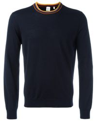 Paul Smith | Blue Striped Neck Jumper for Men | Lyst