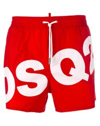 DSquared² | Red Dsq2 Logo Swim Shorts for Men | Lyst