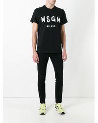 MSGM - Black Logo Print T-shirt for Men - Lyst