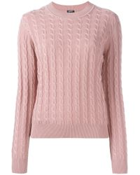 Jil Sander Navy - Pink Cableknit Pullover - Lyst