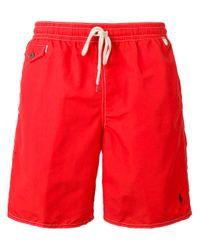 Polo Ralph Lauren | Red Drawstring Swim Shorts for Men | Lyst