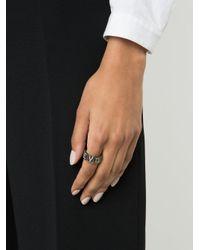 Lynn Ban - Metallic Diamond Letters Chunky Ring - Lyst