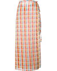 Miu Miu | Multicolor - Checked Midi Skirt - Women - Cotton - 38 | Lyst