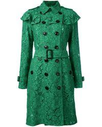 Burberry | Green - Ruffle Trim Trench Coat - Women - Silk/cotton/polyamide/viscose - 8 | Lyst