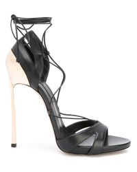 Casadei - Black Blade Lace-up Sandals - Lyst