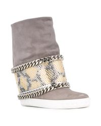 Casadei | Gray Chain Trim Studded Panel Sneakers | Lyst