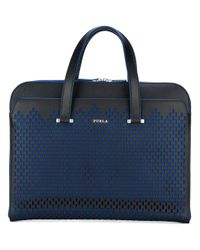 Furla | Black Vulcano Slim Briefcase for Men | Lyst