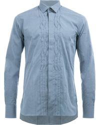 Lanvin | Blue - Pleated Crease Casual Shirt - Men - Cotton - 40 for Men | Lyst