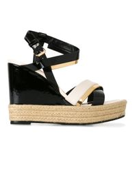Lanvin | Black Patent Wedge Sandals | Lyst