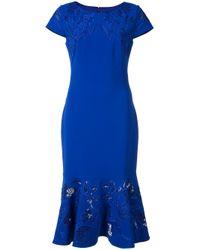 Notte by Marchesa | Blue - Peplum Hem Dress - Women - Polyester - 12 | Lyst