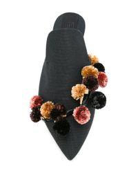 Sanayi 313 - Black Pompom Embellished Mules - Lyst