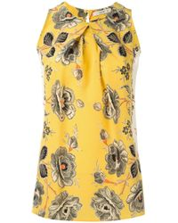 Etro | Yellow Floral Print Pleated Top | Lyst