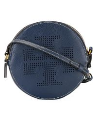 Tory Burch | Blue - Perforated Logo Shoulder Bag - Women - Leather - One Size | Lyst