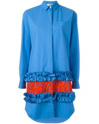 MSGM | Blue Frill Hem Shirt Dress | Lyst