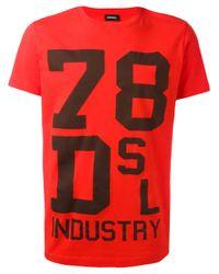 DIESEL | Red Printed Motif T-shirt for Men | Lyst