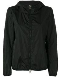 Moncler | Black Hooded Zip-up Jacket | Lyst