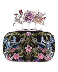 Alexander McQueen | Black Knuckle Floral Embroidered Box Clutch | Lyst