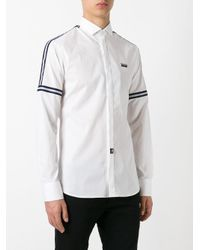 Philipp Plein - White Striped Panel Shirt for Men - Lyst