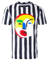 Fendi | Blue Striped Abstract Face Print T-shirt for Men | Lyst