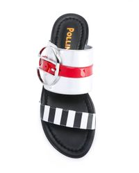 Pollini | Metallic Striped Slip-on Sandals | Lyst