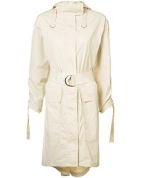 Elizabeth and James | Natural Gathered Sleeves Hooded Coat | Lyst