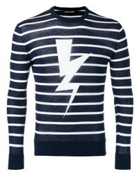 Neil Barrett | Blue Striped Lightning Print Sweater for Men | Lyst