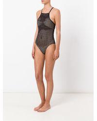 Evarae   Black Sheer Geometric Swimsuit   Lyst