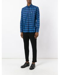 Etro - Blue Checked Shirt for Men - Lyst