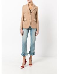 Miu Miu - Natural - Single Breasted Blazer - Women - Silk/viscose/wool - 42 - Lyst