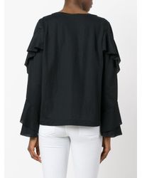 Dorothee Schumacher - Black Ruffled Longsleeved Blouse - Lyst