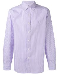 Polo Ralph Lauren | Purple Logo Embroidered Striped Shirt for Men | Lyst