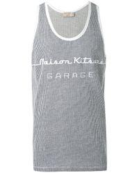 Maison Kitsuné   Blue Knitted Logo Vest for Men   Lyst