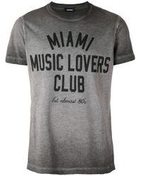 DIESEL | Gray - Slogan Print T-shirt - Men - Cotton - Xxl for Men | Lyst