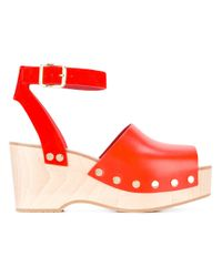Céline - Red - Wedge Sandals - Women - Calf Leather/leather/foam Rubber - 38 - Lyst