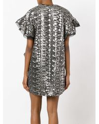 IRO - Gray Metallic Peplum Dress - Lyst