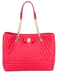 Ferragamo | Red Quilted Tote | Lyst