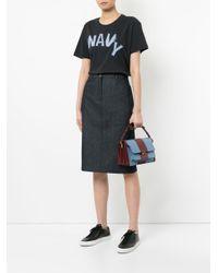 Jil Sander Navy - Blue Denim Midi Skirt - Lyst
