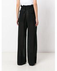 Ann Demeulemeester - Black Paper Bag Wide Leg Trousers - Lyst
