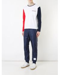 Thom Browne - White Colourblock T-shirt for Men - Lyst