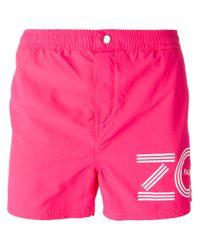 KENZO   Pink Logo Print Swim Shorts for Men   Lyst