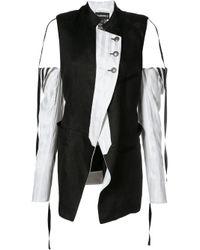 Ann Demeulemeester | Black - Cold-shoulder Panelled Coat - Women - Silk/cotton/linen/flax - 36 | Lyst
