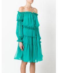 Alberta Ferretti - Green Off-shoulders Sheer Dress - Lyst