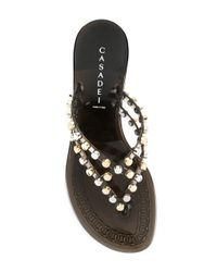 Casadei - Metallic Studded Strap Jelly Sandals - Lyst