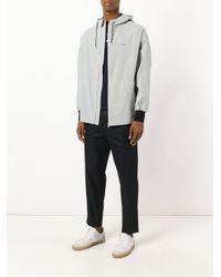 Maison Kitsuné White Seersucker David Hooded Jacket for men