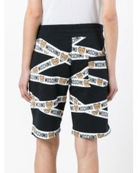 Moschino | Black - Teddy Bear Tape Track Shorts - Women - Cotton - L | Lyst