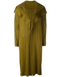 Pleats Please Issey Miyake | Green Long Pleated Coat | Lyst