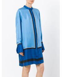 Diane von Furstenberg - Blue Mandarin Neck Shirt Dress - Lyst