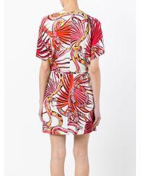Just Cavalli - Red - Snake Print Wrap Dress - Women - Viscose - 40 - Lyst