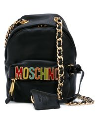 Moschino - Black Logo Plaque Cross Body Bag - Lyst